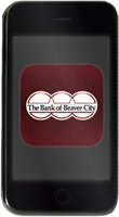 cell phone with bank of beaver logo within